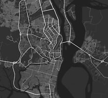 Guayaquil, Ecuador Map. (White on black) by Graphical-Maps