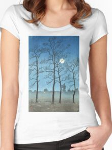 Kawase Hasui - Winter Moonlight Women's Fitted Scoop T-Shirt