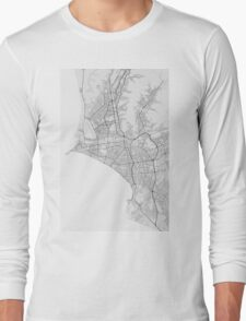 Lima, Peru Map. (Black on white) Long Sleeve T-Shirt