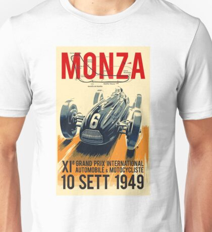 MONZA GRAND PRIX; Vintage Auto Racing Print Unisex T-Shirt