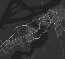 Ciudad Guayana, Venezuela Map. (White on black) by Graphical-Maps