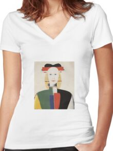 Kazemir Malevich - Girl With A Comb In Her Hair 1933 Women's Fitted V-Neck T-Shirt