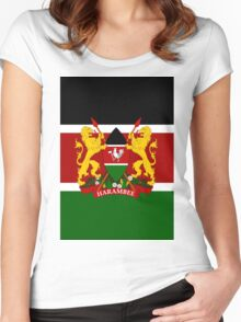 KENYA-COAT OF ARMS Women's Fitted Scoop T-Shirt