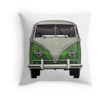 Green Split window bus Throw Pillow