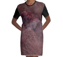 Sleeping Lion in Red Graphic T-Shirt Dress