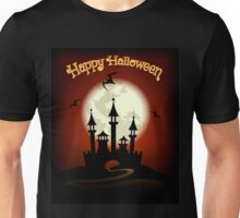 Halloween Background with Castle and Bat Unisex T-Shirt