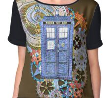 Mosaic TARDIS with Clock Chiffon Top
