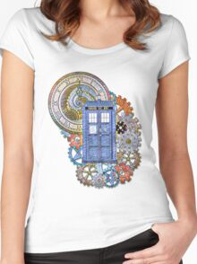Mosaic TARDIS with Clock Women's Fitted Scoop T-Shirt