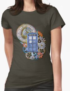 Mosaic TARDIS with Clock Womens Fitted T-Shirt
