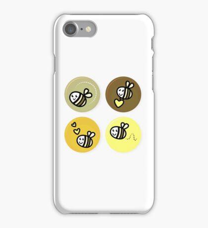 Vector set of happy bee characters iPhone Case/Skin
