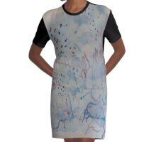 Aquarel blue Graphic T-Shirt Dress