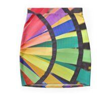 Graphic Rainbow Pinwheel Spinner Detail Mini Skirt
