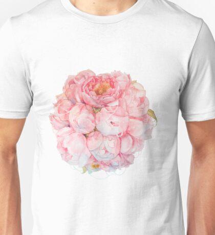 Tender watercolor bouquet of peonies  Unisex T-Shirt