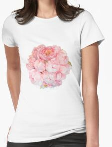Tender watercolor bouquet of peonies  Womens Fitted T-Shirt