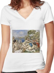 Renoir Auguste - Bathers Playing With A Crab  Women's Fitted V-Neck T-Shirt