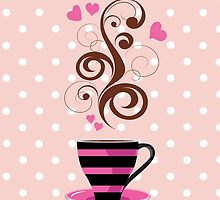 Coffee Cup, Swirls, Hearts - Pink Black Brown  by sitnica