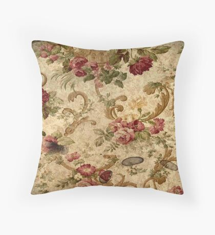 antique,rustic,floral,wall paper,shabby chic,country chic,elegant,old, grunge Throw Pillow