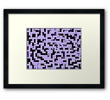 Line Art - The Bricks, tetris style, purple and black Framed Print