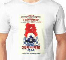 COUPE DE PARIS; Vintage Auto Racing Print Unisex T-Shirt