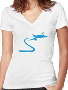Blue airplane Women's Fitted V-Neck T-Shirt