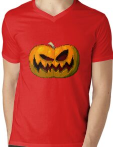 Pixel Pumpkin Mens V-Neck T-Shirt