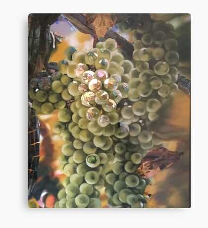 White Grapes Glass and Painted Mosaic  Metal Print