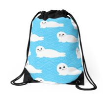 Pattern of white baby seal. Drawstring Bag