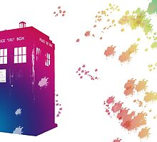 The Tardis in Watercolours ... Geronimo ! * laptop skins, and mugs added * by lloydj3