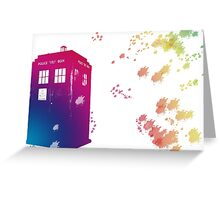 The Tardis in Watercolours ... Geronimo ! * laptop skins, and mugs added * Greeting Card