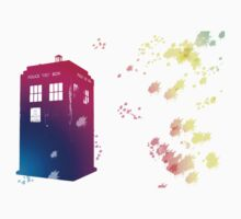 The Tardis in Watercolours ... Geronimo ! * laptop skins, and mugs added * T-Shirt