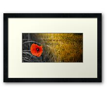 The fields of gold - rememberance Framed Print