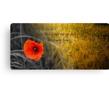 The fields of gold - rememberance Canvas Print