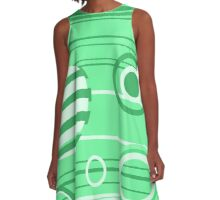 Green Abstract Pattern A-Line Dress