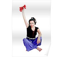 Girl with two red dumbbell Poster