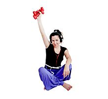 Girl with two red dumbbell Photographic Print