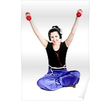 Girl with two red dumbbells in hands Poster