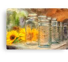 Sunflowers and Jars Canvas Print