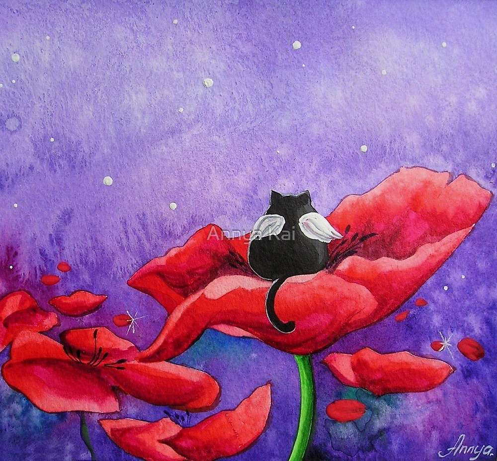 Little Angel in a Field of Poppies by Annya Kai