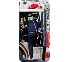 Fireman Climbing into Fire Truck iPhone Case/Skin