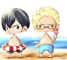 Haikyuu!! - Tsukishima & Kageyama - At the Beach by TrashCat