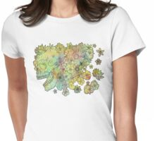 Flower Skull Womens Fitted T-Shirt