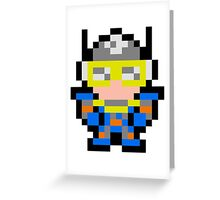 Pixel Sonic Blast Man Greeting Card