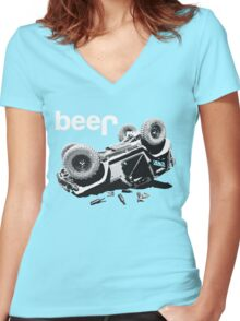 "Funny ""beer"" 4x4  Women's Fitted V-Neck T-Shirt"