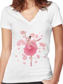 Bubble Ballerina Women's Fitted V-Neck T-Shirt