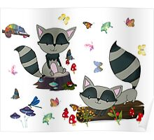 Whimsical Raccoons  Poster