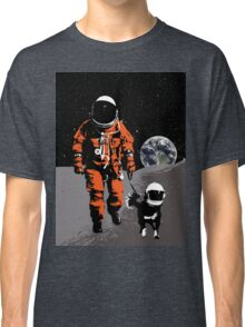 Astronaut walking his dog on the moon Classic T-Shirt