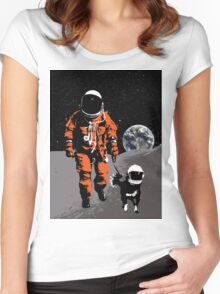 Astronaut walking his dog on the moon Women's Fitted Scoop T-Shirt