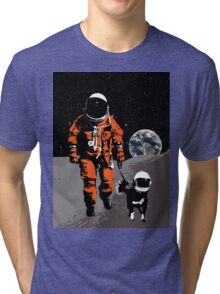 Astronaut walking his dog on the moon Tri-blend T-Shirt