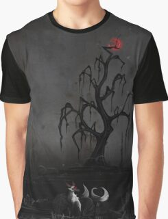 Fox Beneath the Red Moon Graphic T-Shirt