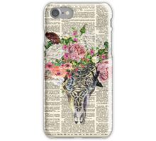 Skull & Flowers on Vintage Dictionary Page iPhone Case/Skin